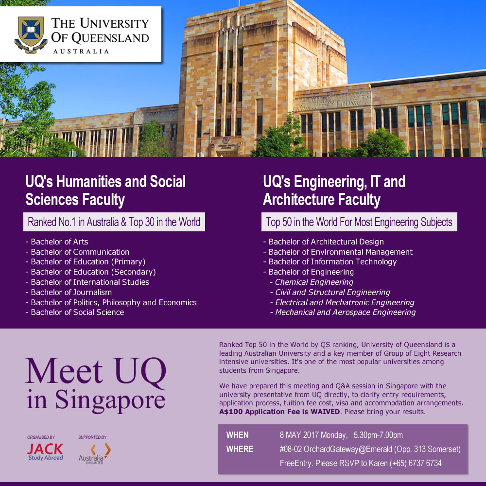 Meet University of Queensland in Singapore - 8 May 2017